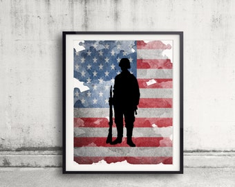 Soldier Art Print Military Tribute Combat Soldier Painting American Flag Army Soldier Silhoutte Poster Fallen Soldier US Military Gift Idea
