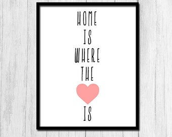 Home Is Where The Heart Is Print Digital Download Home Decor Inspirational Quote Print Home Is Where The Heart Is Poster Instant Download