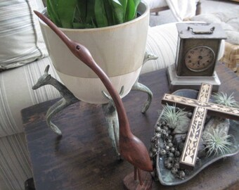 Vintage Modern Sleek Carved Dark Wood  Bird