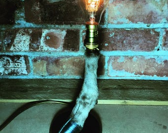 Taxidermy Red Deer Hoof Lamp with Edison Bulb
