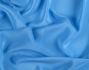 Turquoise Silk Crepe de Chine, Fabric By The Yard