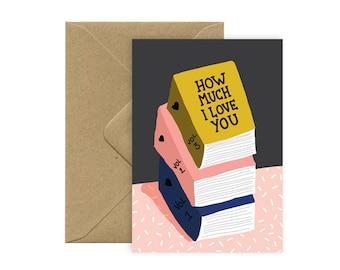 A6 card - Love books - love card