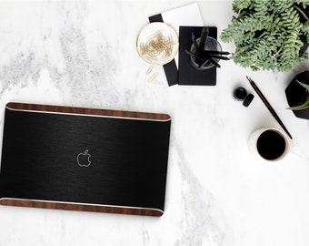 Macbook Pro 13 Case Macbook Air Case Laptop Case Macbook Case . Brushed Black & Primavera Rustic Wood Edge with Silver Chrome - Platinum