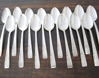 Vintage Teaspoons Proposal 1954 Pattern by 1881 Rogers, Silverplate Set of 15 Spoons