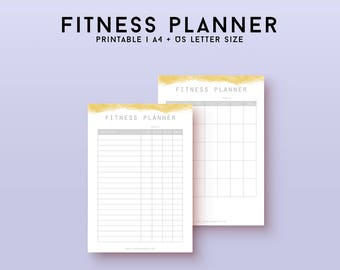 Fitness planner, workout tracker, fitness tracker, fitness goals, health planner, fitness printable workout log, planner inserts A4