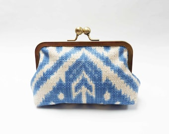 Clutch bag, ikat design, blue and cream, cotton purse