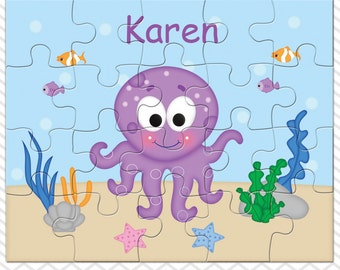Octopus Personalized Puzzle, Personalized Octopus Puzzle, Personalized Kids Puzzle