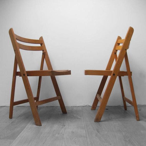 Mid Century Folding Chair Vintage Wooden Dining Seat Patio Garden