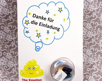 """Shit The glitter-the original glitter pills-greeting card """"Thank you for..."""" With 5 glitter pills"""