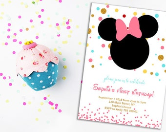 Pink and Gold Minnie mouse 1st birthday invitation First birthday invite Disney Girl birthday invites Polk dots Gold Glitter Printable DIY
