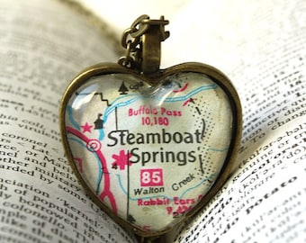 Map Jewelry, Jewelry, Steamboat Colorado, I Love Steamboat Colorado, Necklace, Colorado Necklace, Skier Gift , Holiday Gift, Christmas Gift