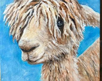 Canvas print of an original acrylic painting. Alvin Alpaca, farm, country, primitive painting 8 x 8