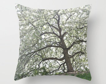 Velveteen Pillow - Tree Pillow - Tree Pillow Cover - Cherry Blossom Tree - Country Pillow - Country Cottage Decor - Boho - Cottage Pillows