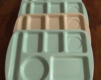 Four Vintage Melamine School Lunch Trays