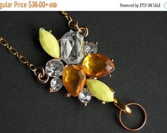 SUMMER SALE Yellow Lanyard. Amber Crystal Badge Lanyard. Rhinestone Lanyard. Badge Necklace. Gold Lanyard. Crystal Lanyard Necklace. ID Badg