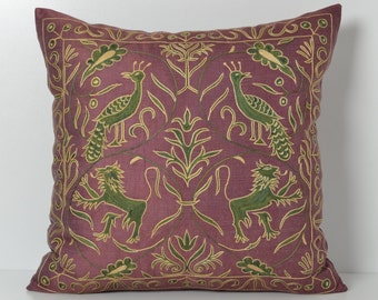 suzani pillow, suzani, pillow cover, purple pillow, purple, suzani pillows, purple suzani pillow, embroidered pillow, lavender pillow, 20x20