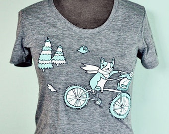 Bicycle t shirt, bike t-shirt, athletic grey shirt, animal bike t shirt, bicycle shirt, cyclist shirts, bicycle tshirts, hipster tshirt gray