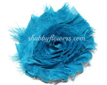 Turquoise Shabby Flowers - Wholesale Shabby Flowers - chiffon rose flower trim, shabby flower