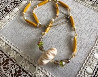 Italy made acrylic mustard yellow necklace
