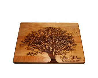 "Personalized Cutting Board, Family Tree, 12"" x 9"" Maple Cutting Board"