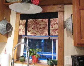"MOCK ROMAN SHADE Hidden Rod Pocket® Valance with ties, fits 43""- 60"" window, stationary hobbled shade, Your fabrics, my labor and lining"