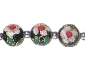 12mm Black Round Cloisonne Bead, 4 beads