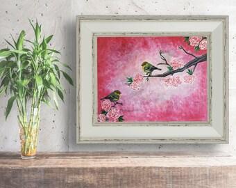 Cherry blossom painting, cherry blossom print, cherry blossom, cherry blossom art,nursery decor, blossom nursery print,Birds, Bird art print