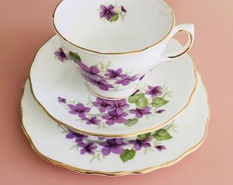 Royal Vale Purple Violets Vintage Tea trio set - demitasse cup; saucer and plate
