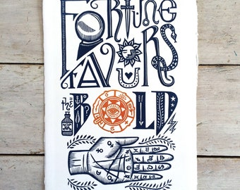 Handprinted linocut - 'Fortune Favours the Bold' lino print with hand-cut typography (16 cm x 23 cm)
