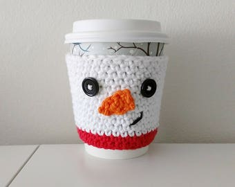 Snowman Cup Cozy - coffee cup cozy - crochet - winter - cup cozies - stocking stuffer - holiday gift