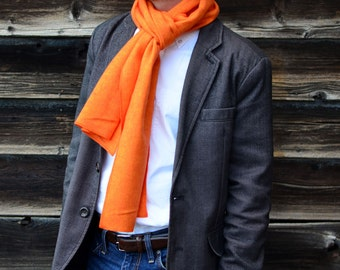 Men's Flannel Scarf in Orange Herringbone- cotton scarf mens womens accessories outerwear bright