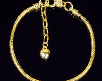 Gold plated snake chain bracelet with removable end cap to make your own Euro style bracelets