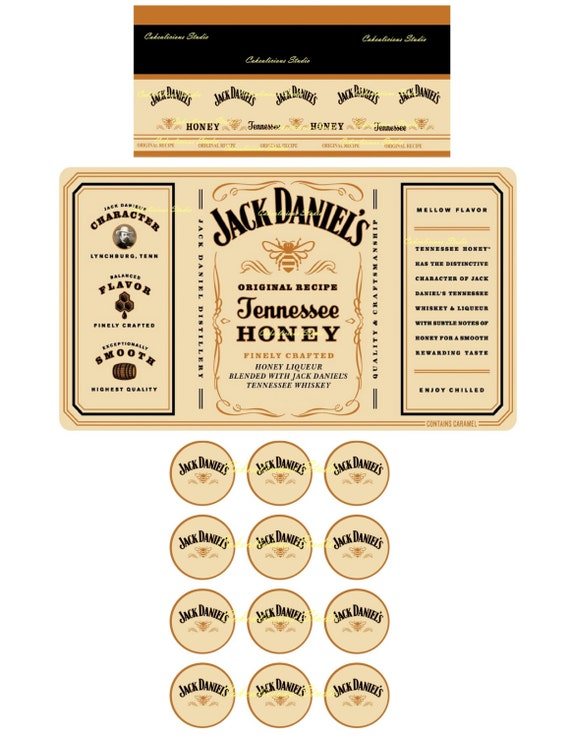 Items similar to Jack Daniels Honey Whiskey Label Icing Sheet +12 ...