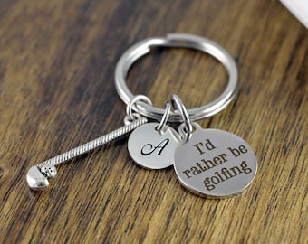 Personalized Keychain - I'd Rather Be Golfing - Golf Gifts - Gifts for Golfers - Golf Jewelry - Golf Gift for Women - Golfer Jewelry