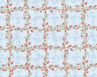 Robert Kaufman Floral Shabby Chic/Le Jardin Parisien/Sky/Cotton/Fabric/Sewing/Quilting