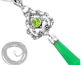 Natural Green Chalcedony and Peridot Sterling Silver Pendant with Chain