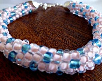 Pink & blue beaded Kumihimo bracelet, bead bracelet, gifts for her