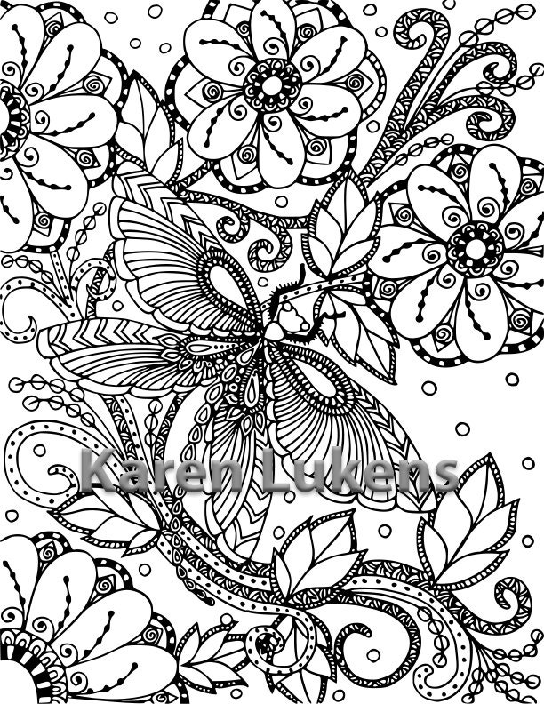 Butterfly Garden 2 1 Adult Coloring Book Page Printable Instant Download