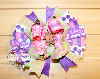 Sweet Christmas, Boutique, Over-The-Top, Hair Bow, Purple, Lime