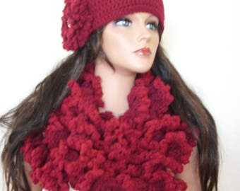 crochet freeform hat and scarf, cloche and ruffle scarf, warm winter scarf, flower cloche long scarf, ruffle scarf, unique hat scarf