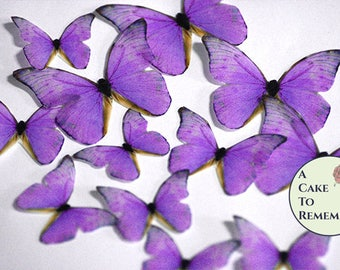 Purple edible butterflies, 12 wafer paper butterflies for wedding cake toppers. Butterflies for cake decorating and cupcake decorating.