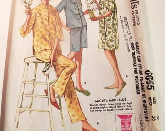 "1960s Pjs Pajamas elastic waist nightshirt sleep pants shirts vintage sewing pattern Mccalls 6655 Size 16 Bust 36"""