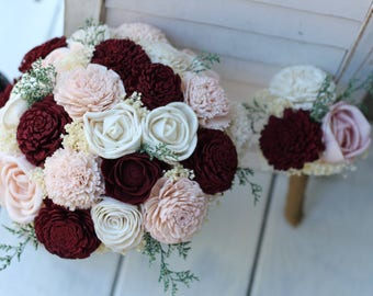 Budget Wedding Planning,Burgundy, Blush Pink, & Ivory Sola Bouquets,  Peti Sola Bridesmaid Bouquet Set, Burgundy Bouquets, Burgundy Wedding