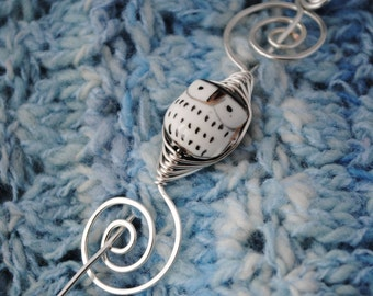 Owl Shawl Pin in Silver Wire
