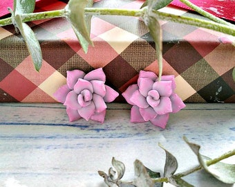 Succulent Earrings, cactus earrings, succulents stud earrings, polymer clay, jewelry succulents  from polymer clay, realistic succulents