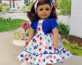 Summer Pinwheels - dress, jacket & headband with sandals for American Girl doll