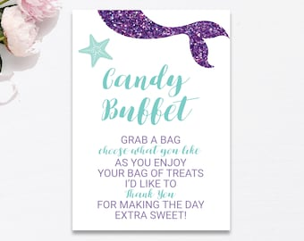 Candy Buffet Sign Printable, Purple and Aqua Mermaid Candy Bar Sign, Shower Decoration Sweet Table Treats Sign, Instant Download PDF