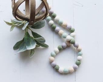 """Handmade 32"""" Spring Wool Felt Ball Garland"""