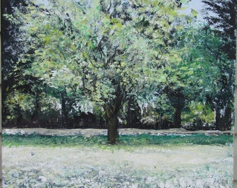 Scenic Original Acrylic  Painting on Canvas of a fall scene.