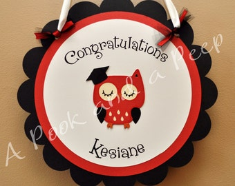 Wise Owl Congratulations Graduation Door Sign - Custom Colors
